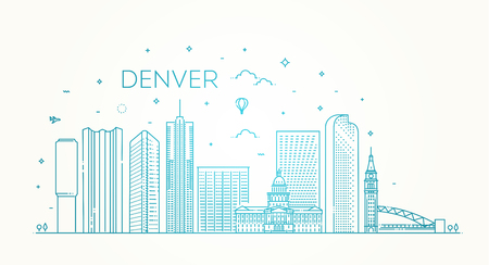 Colorado, Denver. City skyline. Architecture, buildings, landscape, panorama, landmarks, icons Çizim