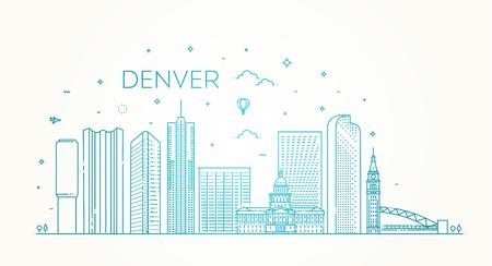 Colorado, Denver. City skyline. Architecture, buildings, landscape, panorama, landmarks, icons Illustration