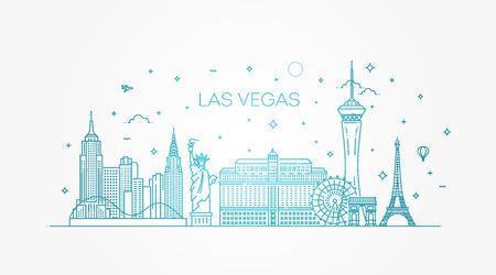 Horizonte de Las Vegas con panorama en fondo blanco. Ilustración de vector