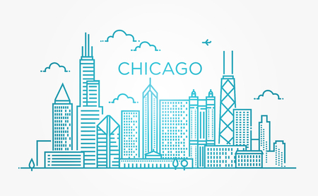 Linear banner of Chicago city 向量圖像