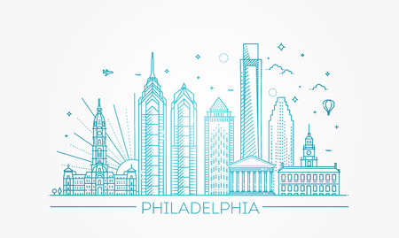 Philadelphia. Pennsylvania USA. Skyline with panorama Illustration