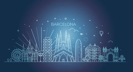 Barcelona skyline, Spain 向量圖像
