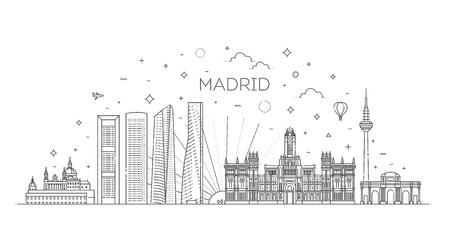 Madrid skyline, Spain. Vector illustration, line art