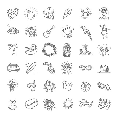 Tropical summer, hawaii icon set with white background 版權商用圖片