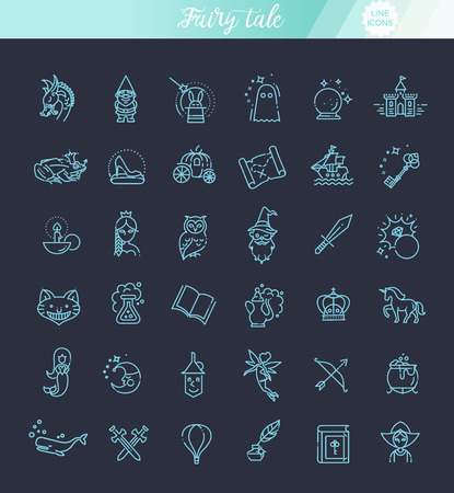 Simple Set of Fantasy Related Vector Line Icon Ilustrace
