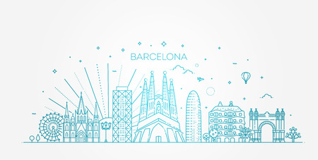 Barcelona skyline, Spain Illustration