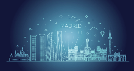 Madrid skyline, Spain. Vector illustration, line art Reklamní fotografie - 115597572