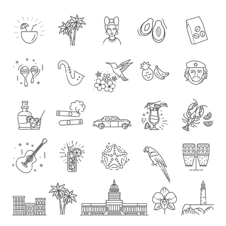 Cuba icon set Vector Illustration