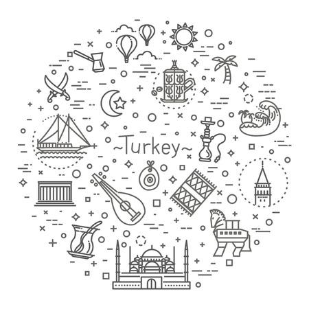 Thin Vector Turkey symbol icon set Ilustrace