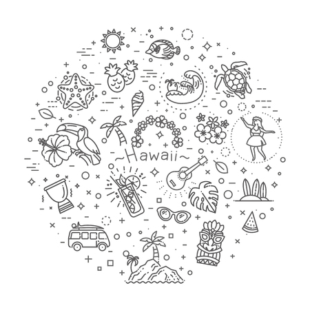 Tropical summer, hawaii icon set with white background Ilustrace