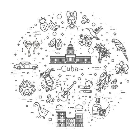Jeu d'icônes de Cuba Vecteurs