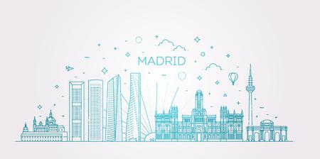 Bandera del horizonte de la ciudad de Madrid en estilo moderno de línea plana. Arte lineal de la ciudad de Madrid