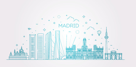 Banner of Madrid city skyline in flat line trendy style. Madrid city line art