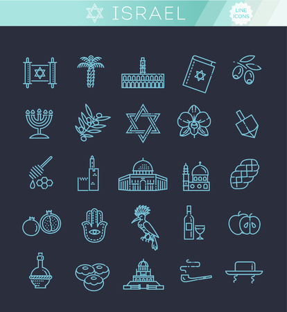 Country Israel travel vacation icons set Reklamní fotografie - 115597697