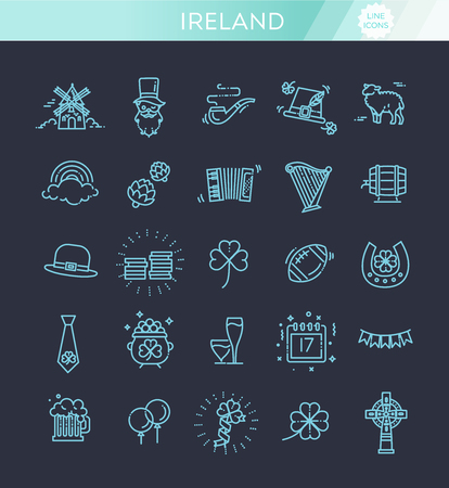 Ireland icons. Tourism and attractions, thin line design.