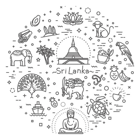 Sri Lanka vacation icons set. Vector icons Reklamní fotografie - 115597704