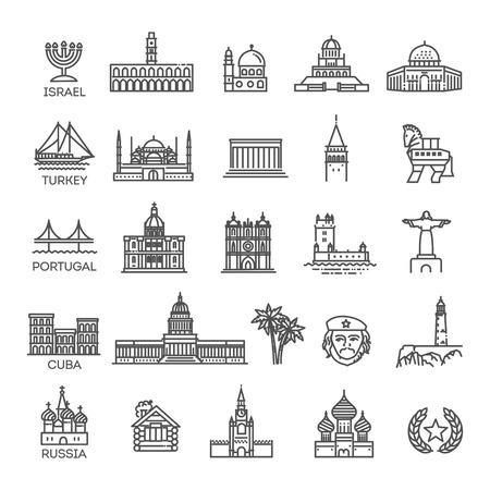 Simple linear Vector icon set representing global tourist landmarks and travel destinations for vacations Ilustrace
