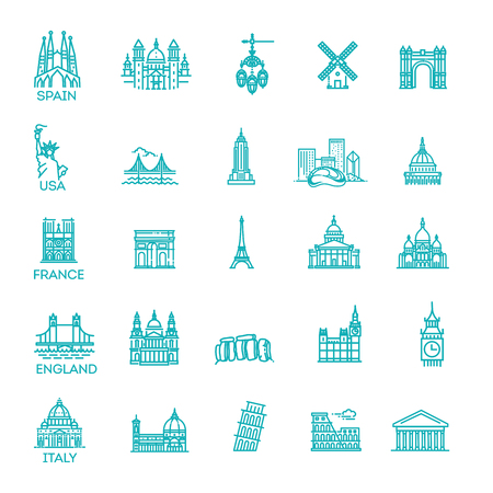 Simple linear Vector icon set representing global tourist landmarks and travel destinations for vacations Reklamní fotografie - 115597708