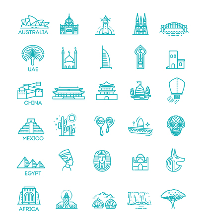 Simple linear Vector icon set representing global tourist landmarks and travel destinations for vacations Reklamní fotografie - 115597733