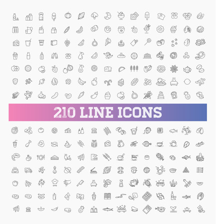210 food and drink thin vector icon set Reklamní fotografie - 115598069