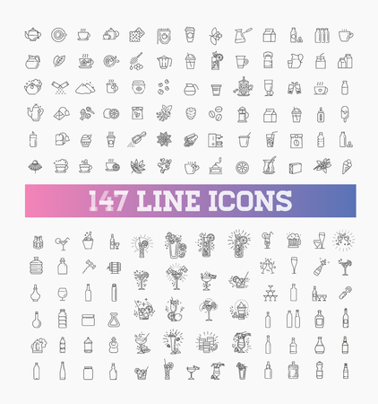 147 drinks thin vector icon set Reklamní fotografie - 115598070
