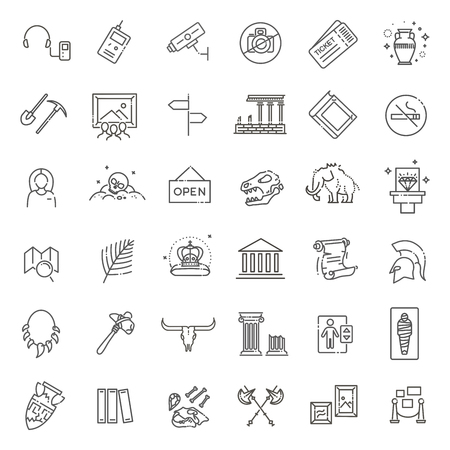 museum icons set. museum exhibits collection. Thin line design