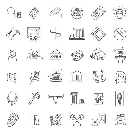 museum icons set. museum exhibits collection. Thin line design Reklamní fotografie - 115598071
