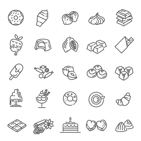 Set vector line icons in flat design chocolate, dessert, cacao and candy Reklamní fotografie - 115598073