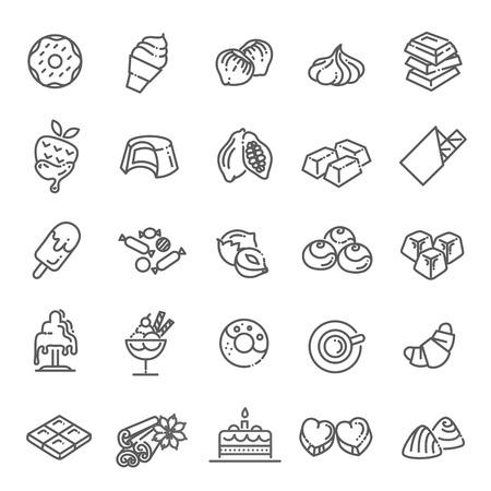 Ustaw ikony linii wektorowych w płaskiej czekoladzie, deserze, kakao i cukierkach Ilustracje wektorowe