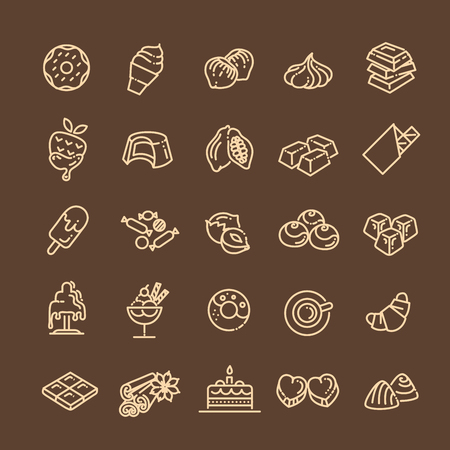 Set vector line icons in flat design chocolate, dessert, cacao and candy