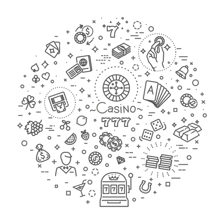 Casino related vector icon set. Well-crafted sign in thin line style Reklamní fotografie - 115598082