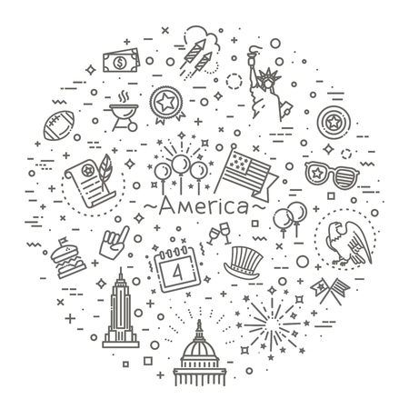 4th of July, independence day icons 版權商用圖片 - 127703104