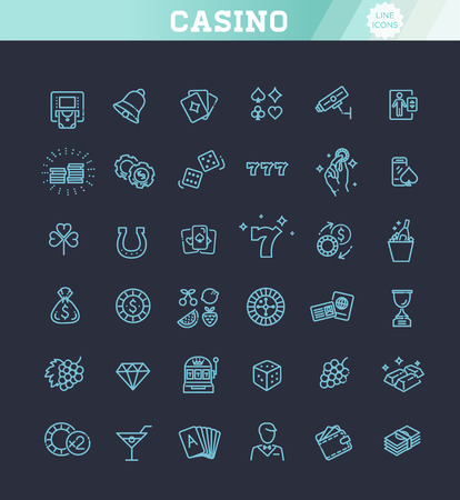 Casino related vector icon set. Well-crafted sign in thin line style 版權商用圖片 - 115598087