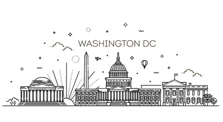 Washington skyline, vector illustration, flat design