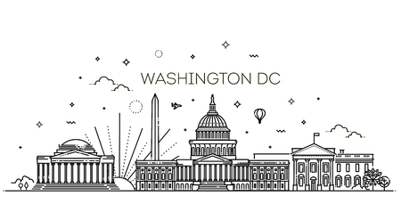 Washington USA skyline and landmarks silhouette 写真素材