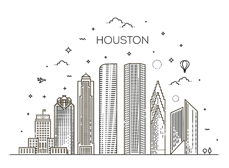 Houston city skyline, vector illustration in linear style. Texas, United States 向量圖像