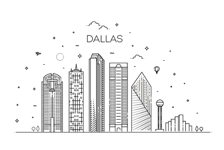 Texas Dallas architecture line skyline illustration. Linear vector cityscape with famous landmarks 向量圖像
