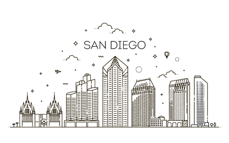 Linear San Diego city skyline vector background