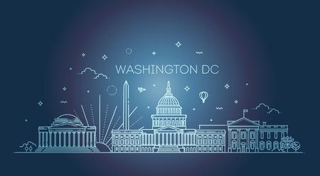 Washington skyline, vector illustration, flat design
