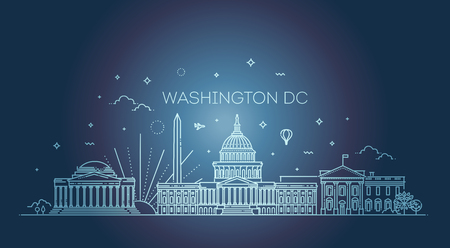 Washington skyline, vector illustration, flat design 版權商用圖片 - 126253877
