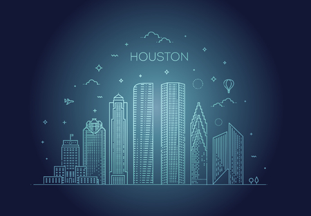 Minimal Houston, Linear City Skyline. Vector illustration