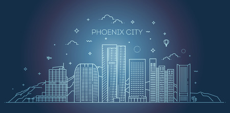 Phoenix skyline, detailed silhouette. Trendy vector illustration, linear style
