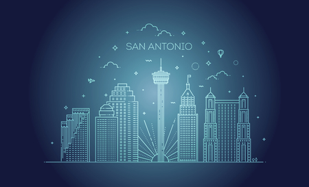 Linear banner of San Antonio. Vector illustration 向量圖像