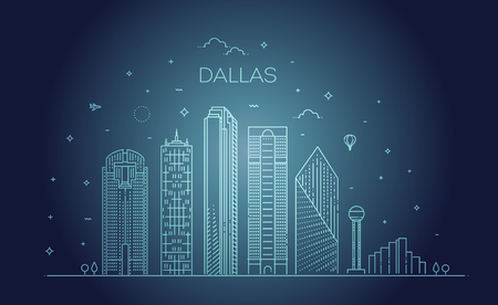 Texas Dallas architecture line skyline illustration. Linear vector cityscape with famous landmarks Reklamní fotografie - 115598098