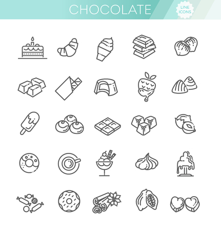 Set vector line icons in flat design chocolate, dessert, cacao and candy 版權商用圖片 - 127742600