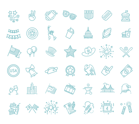 4th of July, independence day icons 版權商用圖片 - 125668291