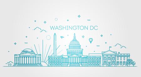 Washington USA skyline and landmarks silhouette. Vector