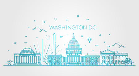 Washington USA skyline and landmarks silhouette. Vector
