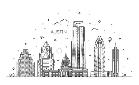 Austin architecture line skyline illustration. Linear vector cityscape with famous landmarks