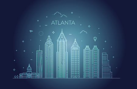 Atlanta architecture line skyline illustration. Linear vector cityscape with famous landmarks